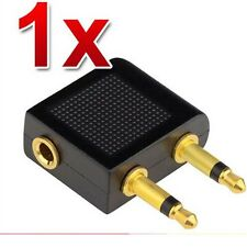Airplane Airline Headphone Adaptor for Audio Jack 2 Plug Air Plane Connector