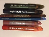 6 pcs Styli-Style FLAT EYE Pencils/eyeliner, lip pencil/lip liner eyeliner bundl