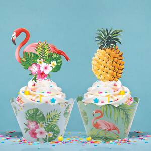 24pcs/set Paper Flamingo Pineapple Cupcake Wrappers Cake Topper DIY Party Decor