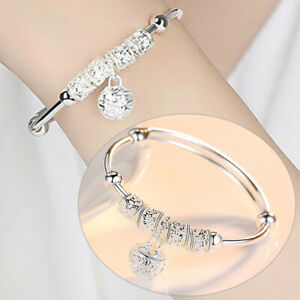 Solid Sterling 925 Silver Bangle Flower Bracelet Charm Womens Girls Ladies Gift