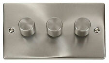 Satin Chrome 3-Gang Dimmer Switche Home Electrical Fittings