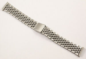 Vintage 18mm Beads of Rice Watch Bracelet - Would Suit Rolex, Heuer, Omega etc.