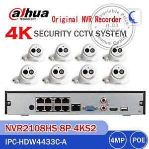 Dahua 8CH 4K H.265 NVR2108HS-8P-4KS2+4MP HDW4433C-A IP IR Turret Camera CCTV KIT