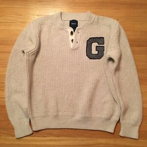 "GAPKIDS Boys 2 Button Crewneck Varsity Letter ""G"" Sweater L(10) $39.99 Oatmeal"