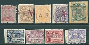 COLOMBIA early used Back of Book stamp collection including A.R. overprints (b)