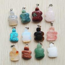 Fashion Beautiful Mixed Natural Stone Tortoise Charms Pendants 12pcs/lot
