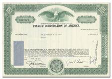Premier Corporation of America Stock Certificate
