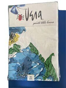 "Vintage Vera Neumann CAMELLIA  70"" Round Tablecloth NIP Blue Yellow Floral~NEW!"