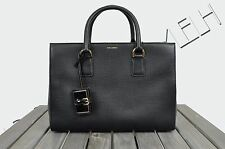DOLCE & GABBANA 2525$ Authentic New Black Textured Leather 'CLARA' Tote Bag