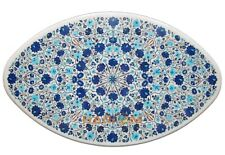3'x2' Marble Top Dining Table Turquoise Lapis Floral Inlay Guestroom Decors W261