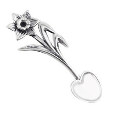 Daffodil Salt Spoon with Heart - 925 Sterling Silver - Flatware Collectible NEW