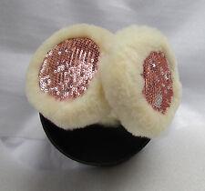 UGG Earmuffs Wired Tech Shearling Camo Champagne Sequin NEW