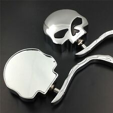 Skull Flame Chrome Side Mirrors for Harley Road King Electra Street Glide Ultra