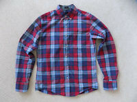 MENS S SMALL J CREW SLIM DRESS CASUAL SHIRT RED BLUE PLAID GINGHAM CHECK