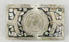 FANCY SILVER TONE  BELT BUCKLE WITH MOTHER OF PEARL INLAY