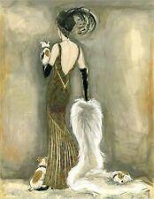 JACK RUSSELL TERRIER JRT DOG FINE ART PRINT - GLAMOUR FASHION LADY ART DECO