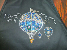 Big Accessories Inc Fancy Embellished Apron  Hot Air Balloon  Black New