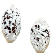G4282 Clear with White & Brown 26mm Oval Blown Lampwork Glass Beads 2pc