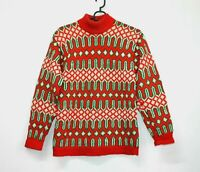 80s VINTAGE Jumper Fairisle Nordic Chunky Pure Wool Retro Red Sweater Womens  M