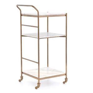 "36.5"" Narciso Bar Cart Aluminum Marble Antique Brass White Artful Design"