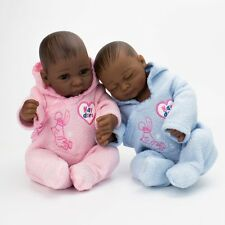 """10"""" African American Dolls Full Silicone Vinyl Black Fake Babies Twins Baby Doll"""