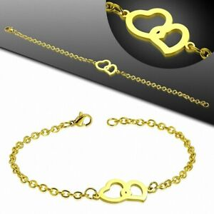 Bracelet Chain With Link Style Watch Stainless Steel Golden Double Heart