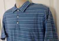 Mens Nike Golf Fit Dri Tiger Woods Short Sleeve Polo Shirt Blue Striped Size M