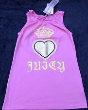 NWT Juicy Couture New Girls Age 8 Pink Cotton Sleeveless Vest T-Shirt With Logo