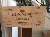 Made Italy Banfi Col Di Sasso WOOD WINE Crate Tuscan Kitchen Wine Storage Box #3