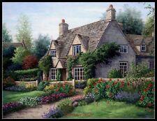 Cottage with Garden - Chart Counted Cross Stitch Patterns Needlework DIY DMC
