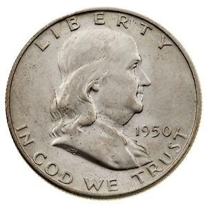 1950-D 50C Franklin Half Dollar in Choice BU Condition FBL, Nice Eye Appeal!