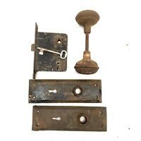Antique Vtg Mortise Lock /key Rusty Door Knobs Backplates Primitive Shabby Decor