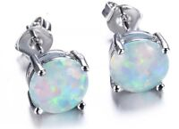 18K White Gold Filled White Fire Opal Round Stud Earrings