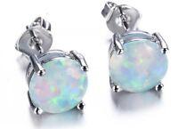 18K White Gold Filled White Fire Opal Round Stud Earrings