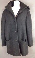 Women's LIZ CLAIBORNE Black 100% Wool Hooded Single Breasted Jacket Size 12