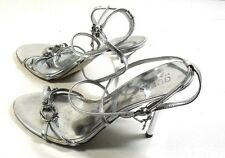 Guess by Marciano Orwellian Womens Silver Strappy High Heel Sandals 8M