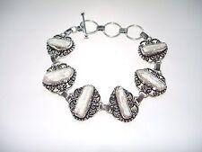 AB White Biwa Pearl Vintage-Look Bracelet Wrist Chain .925 Silver 7.5-9.25