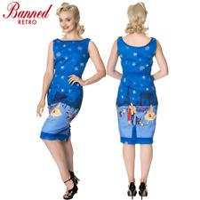 Banned Apparel Romance Lives Vintage Retro Snowflake Blue Midi Pencil Dress