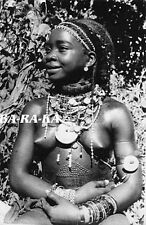 HAPPY AFRICAN NUDE WOMAN BEAUTY JEWELRY SCAR TATTOO SCARIFICATION AFRICA PHOTO