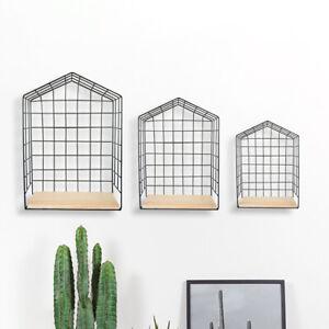 3pc Metal House Shelves Retro Display Unit Hanging Shelf Unique Home Decor