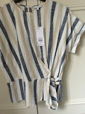 warehouse cotton blue /white stripe short sleeve bow detail top size10 bnwt