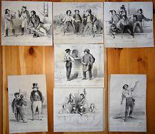 A. PROVOST Caricature Lot de 10 lithographies Le Charivari XIXe Gamins de Paris