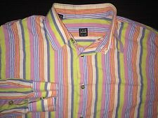 Ike Behar Men's Rainbow Long Sleeve Dress Shirt Sz Large L New York Vibrant EUC