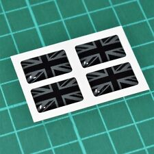 4x Union Jack Flag Domed Stickers - BLACK ON BLACK - High Gloss Raised Finish