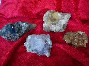 Weardale fluorite no 10  set of 4 specimens U.K. seller since 2003