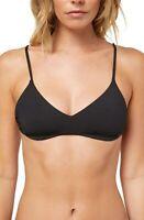 O'NEILL Women's 239857 Lined Solid Back Tie Black Bikini Top Swimwear Size S