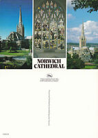 1980's MULTI VIEWS OF NORWICH CATHEDRAL NORFOLK UNUSED COLOUR POSTCARD
