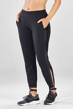Fabletics Kara Pant Black Leggings Faux Leather Trim Ballet Tie Ankles Size XS