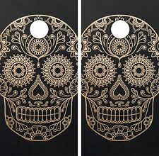 C35 Sugar Skull Cornhole Board Wrap LAMINATED Wraps Decals Vinyl Sticker
