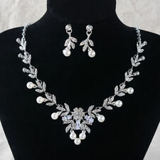 Flower Pearl CZ Crystal Pierced Clip on Wedding Party Prom Necklace Earrings